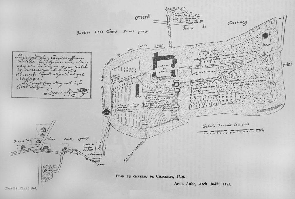 plan chateau de Chacenay 1716
