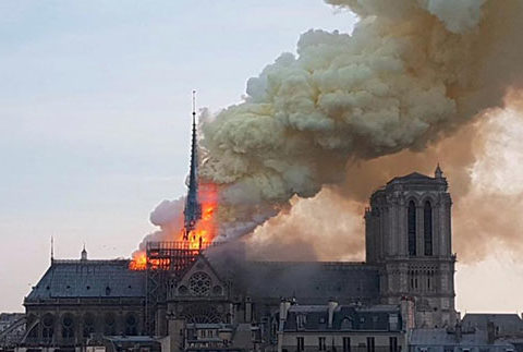 cathédrale notre dame de paris en feu